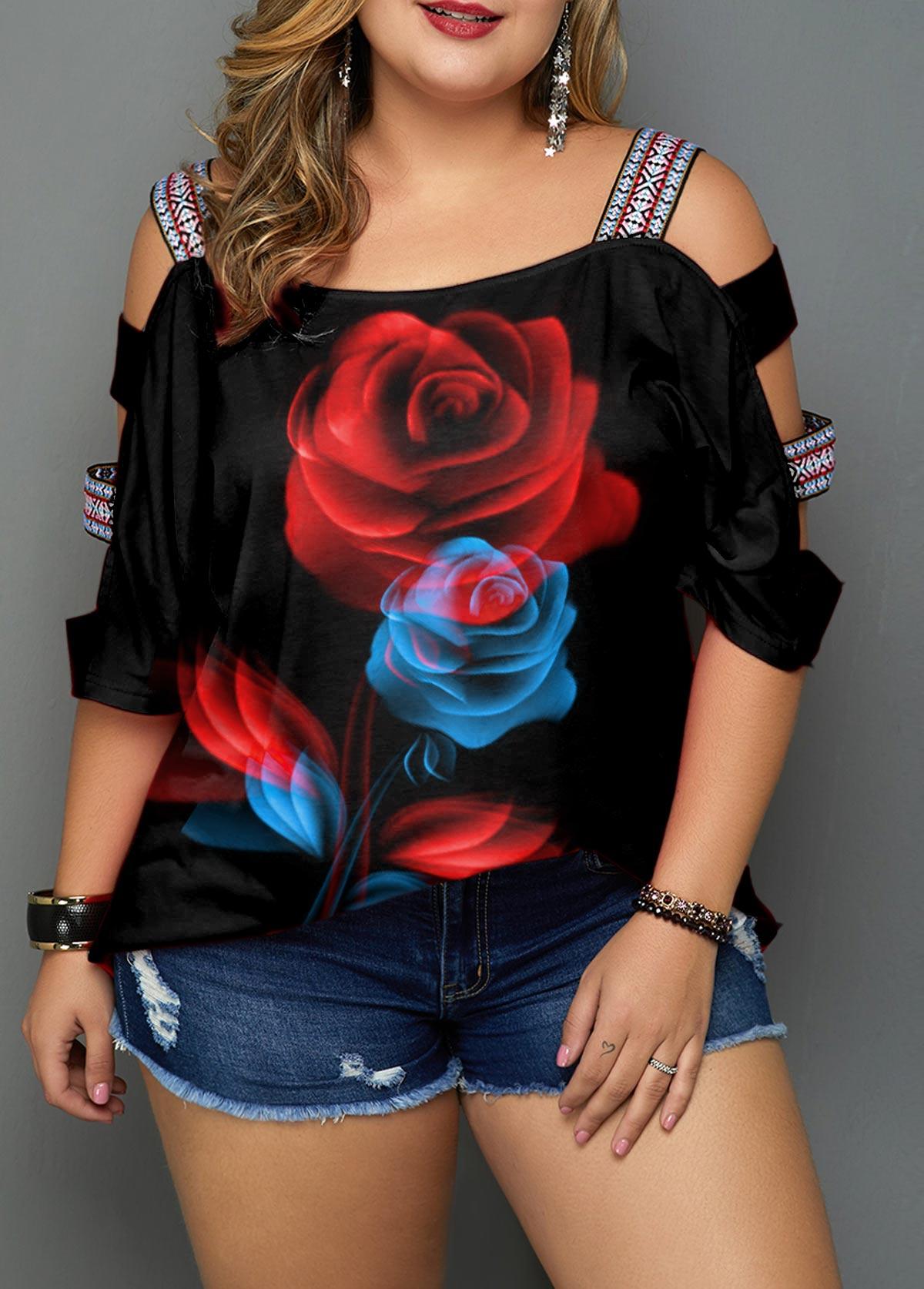 Plus Size Ladder Sleeve Floral Print Black Blouse