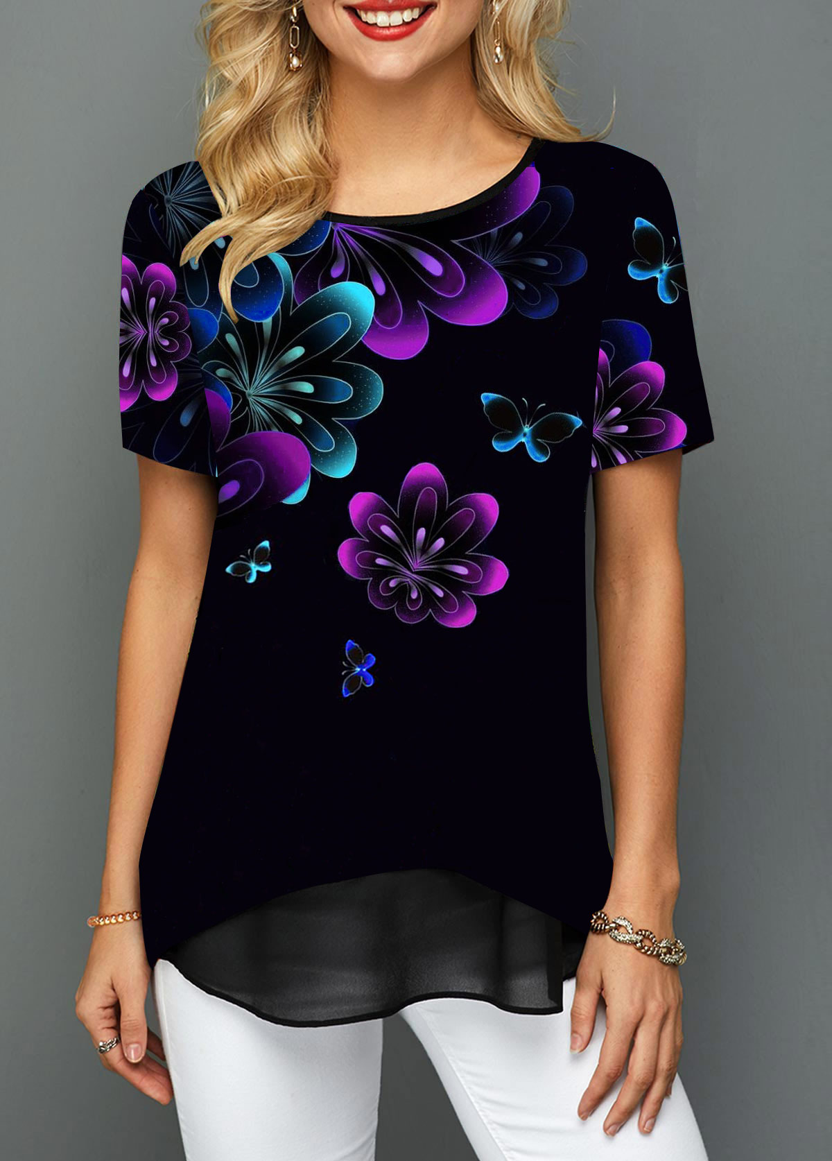 Round Neck Printed Short Sleeve T Shirt