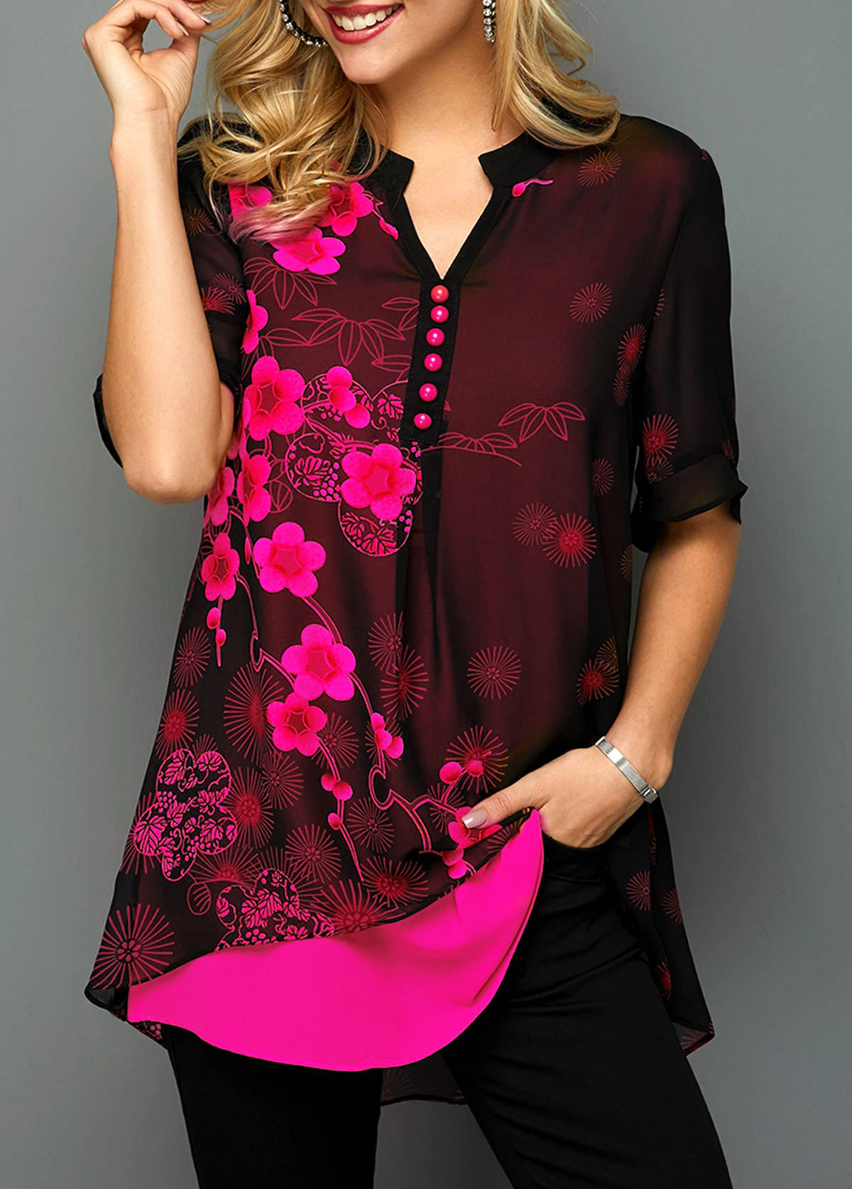 Button Detail Split Neck Blossom Print Blouse