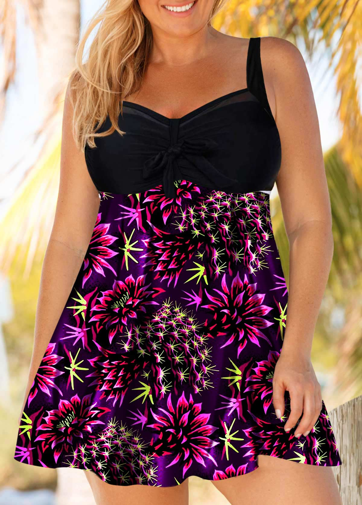 Bowknot Detail Flower Print Plus Size Swimdress and Shorts