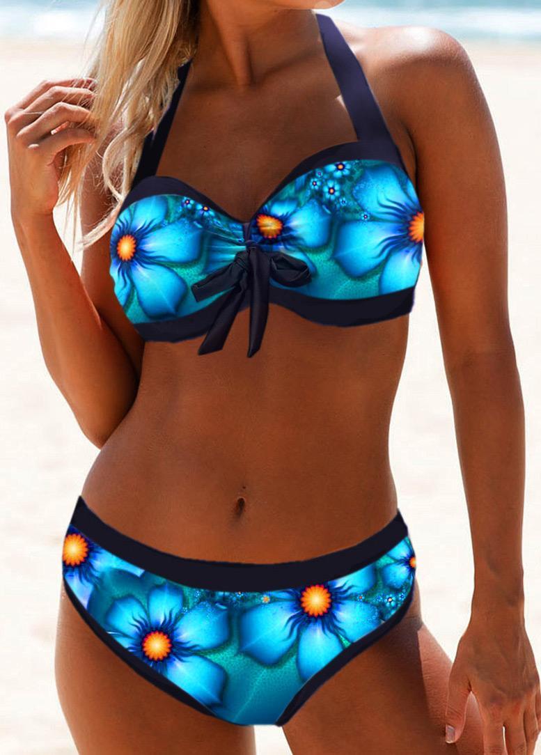Printed Halter Neck Tie Front Bikini Swimwear