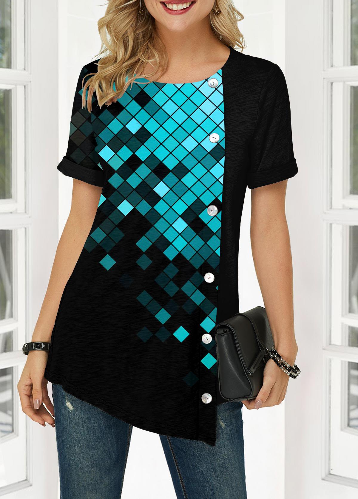 Button Front Geometric Print Short Sleeve Blouse