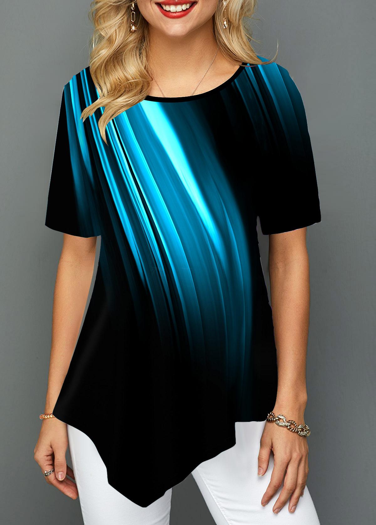 Asymmetric Hem Round Neck Printed T Shirt