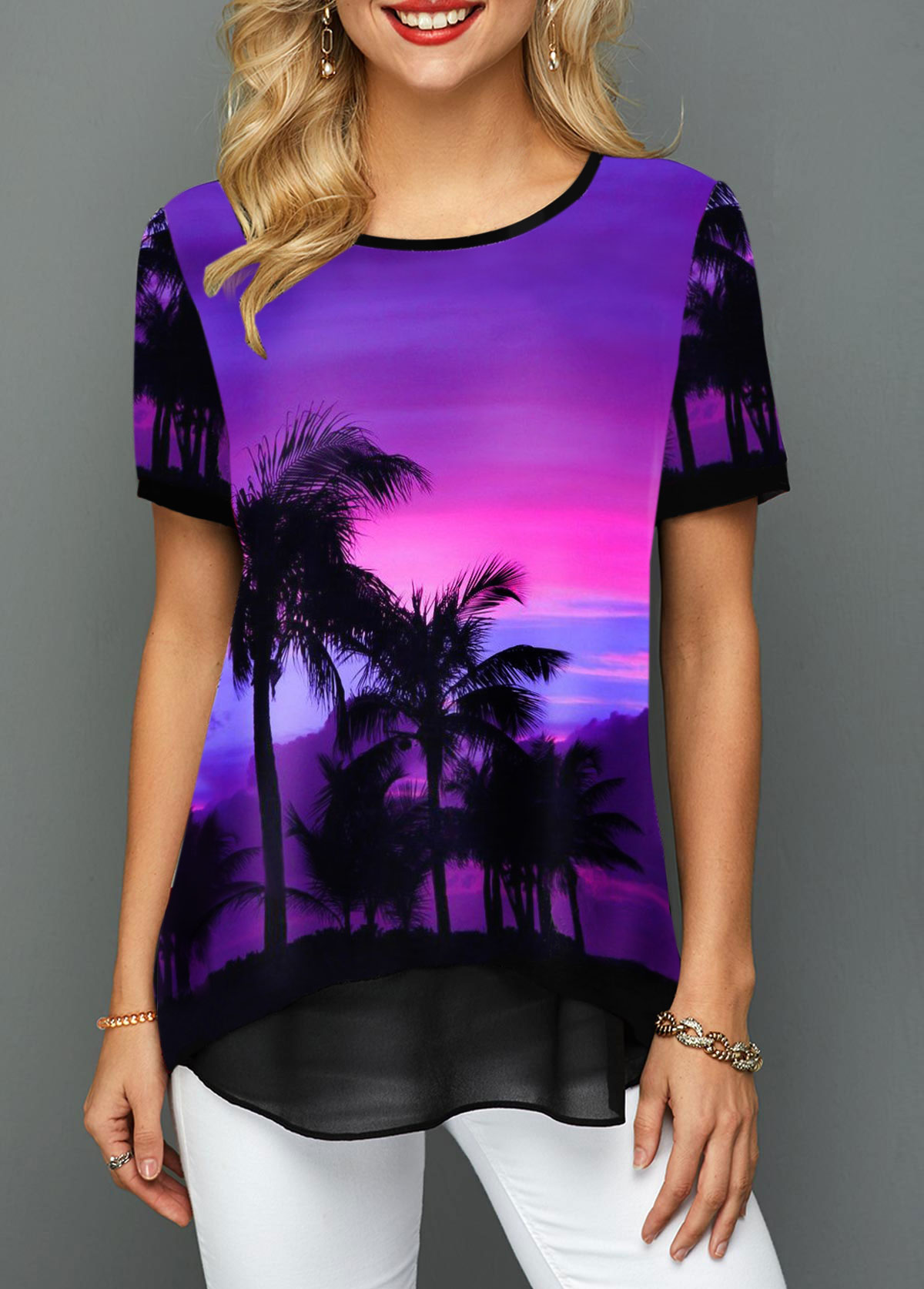 Printed Short Sleeve Mesh Patchwork T Shirt