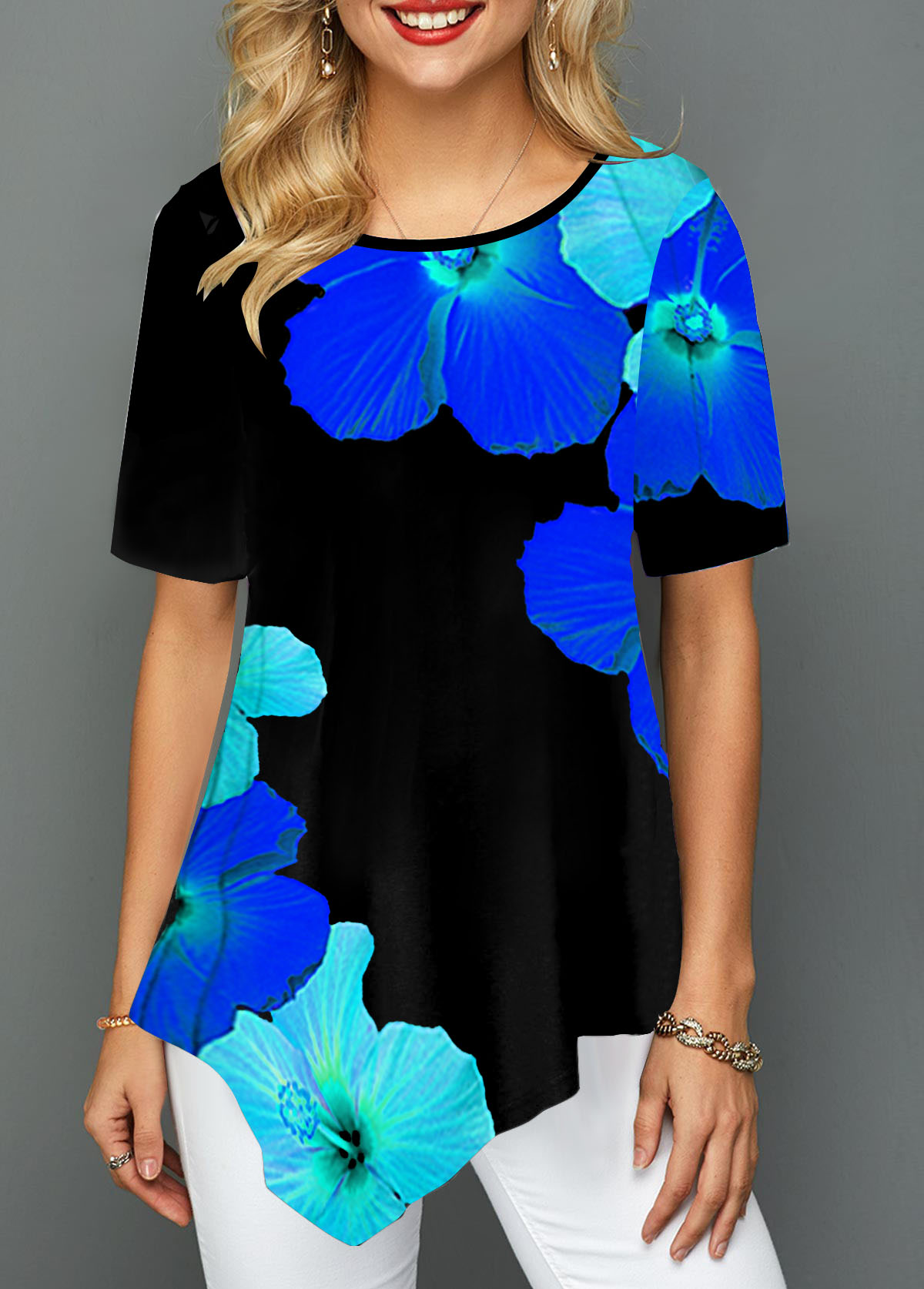 Psychedelic Floral Print Round Neck Asymmetric Hem T Shirt