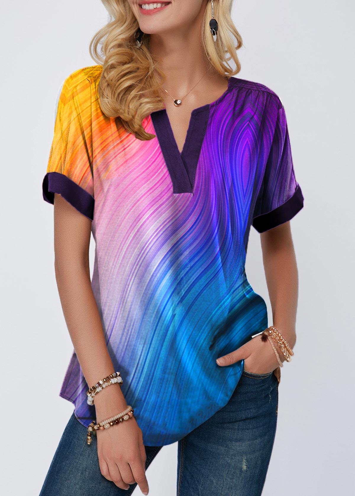 Short Sleeve Notch Neck Printed T Shirt
