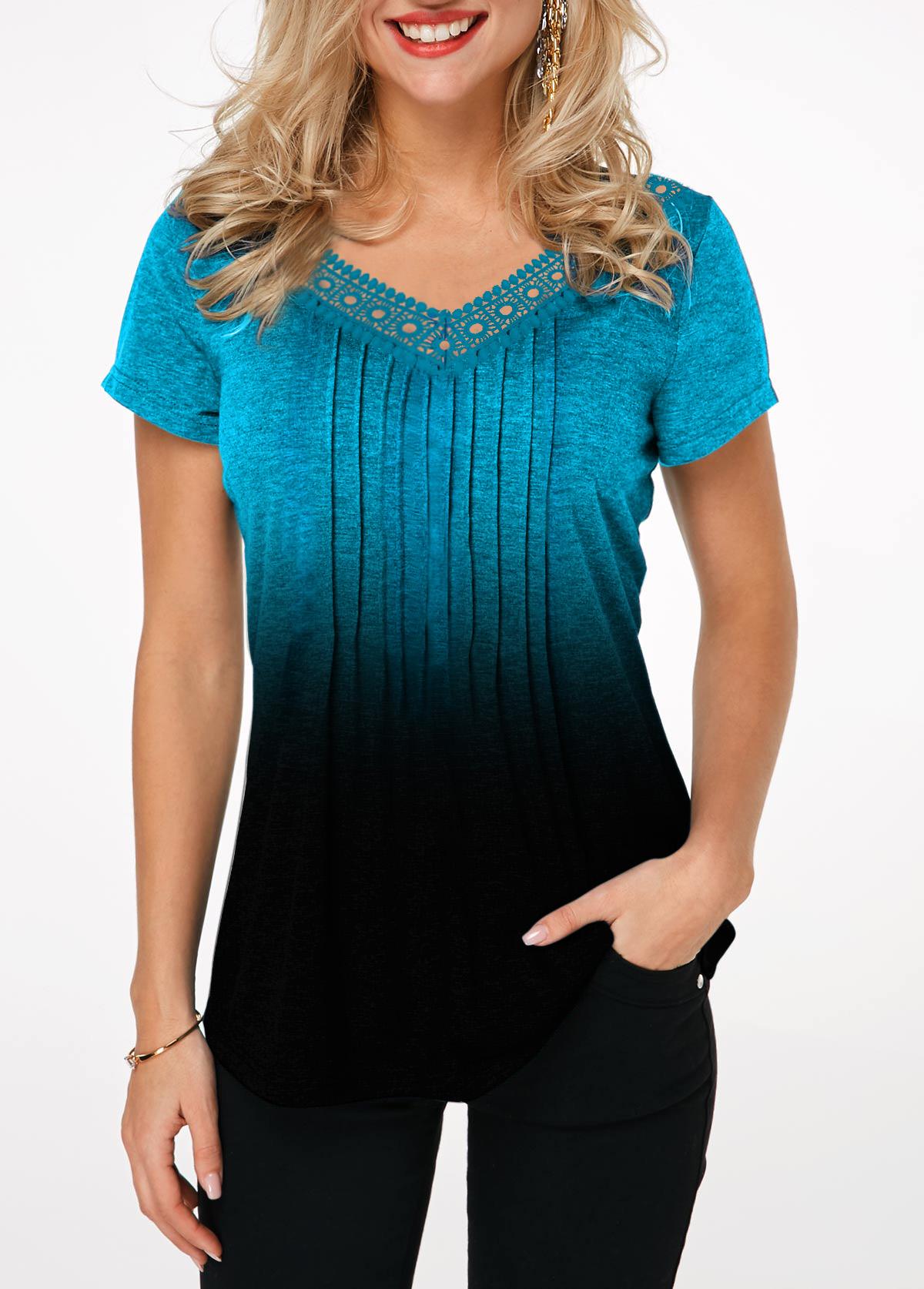 Lace Patchwork Gradient Crinkle Chest T Shirt