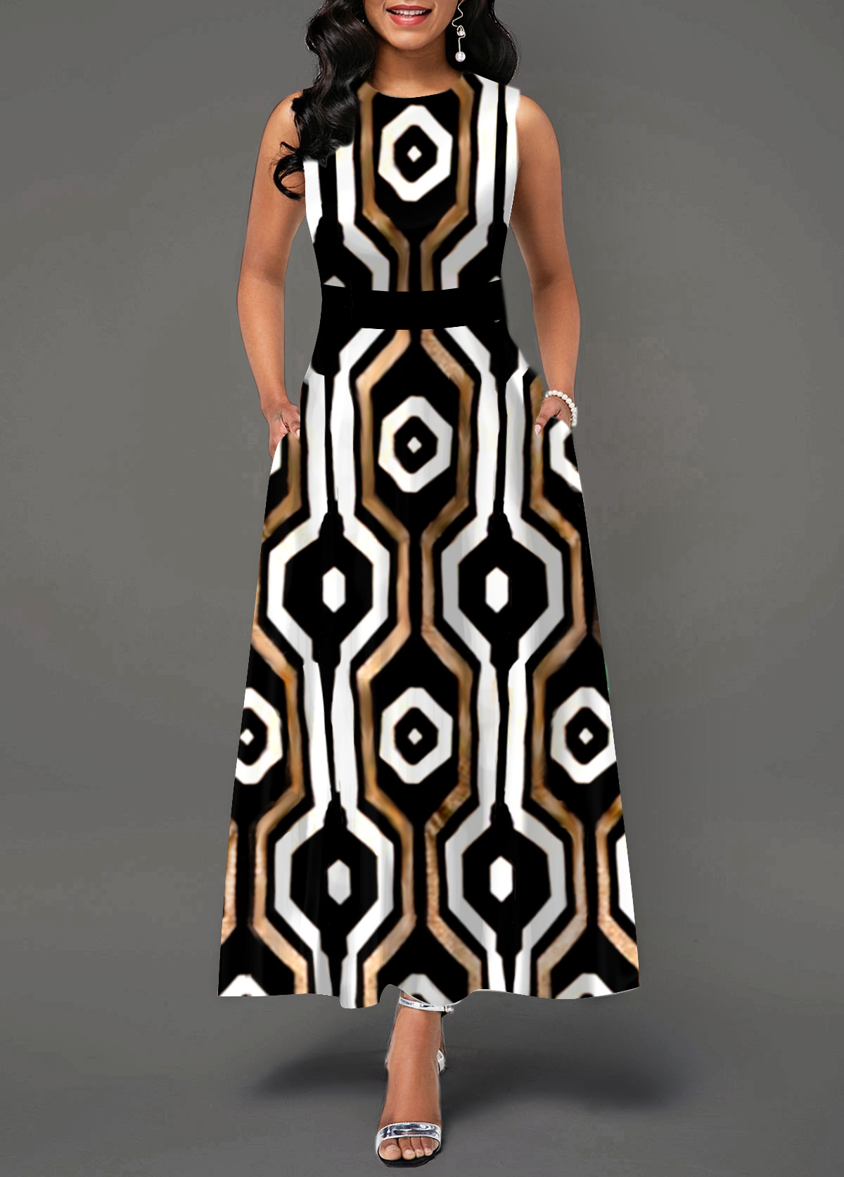 High Waist Sleeveless Geometric Print Maxi Dress