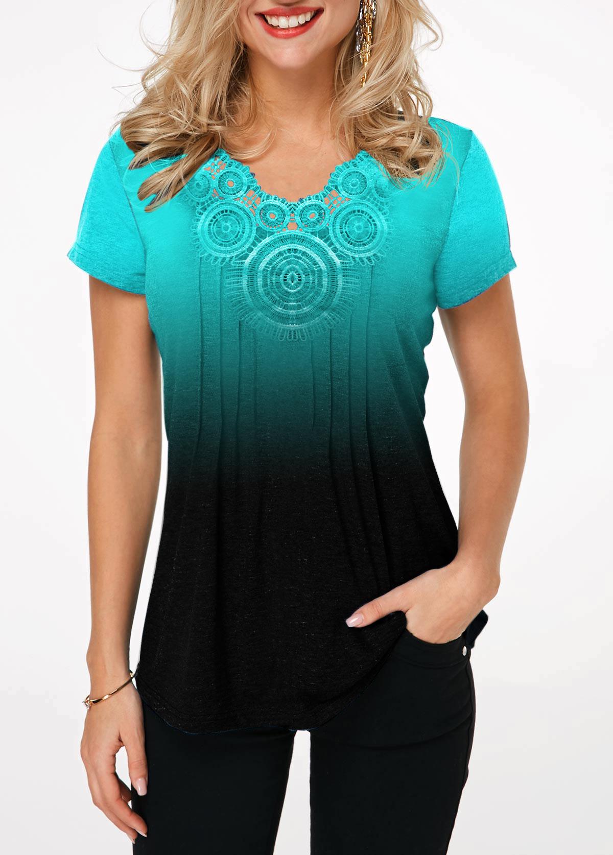 Lace Panel Short Sleeve Cyan Gradient T Shirt