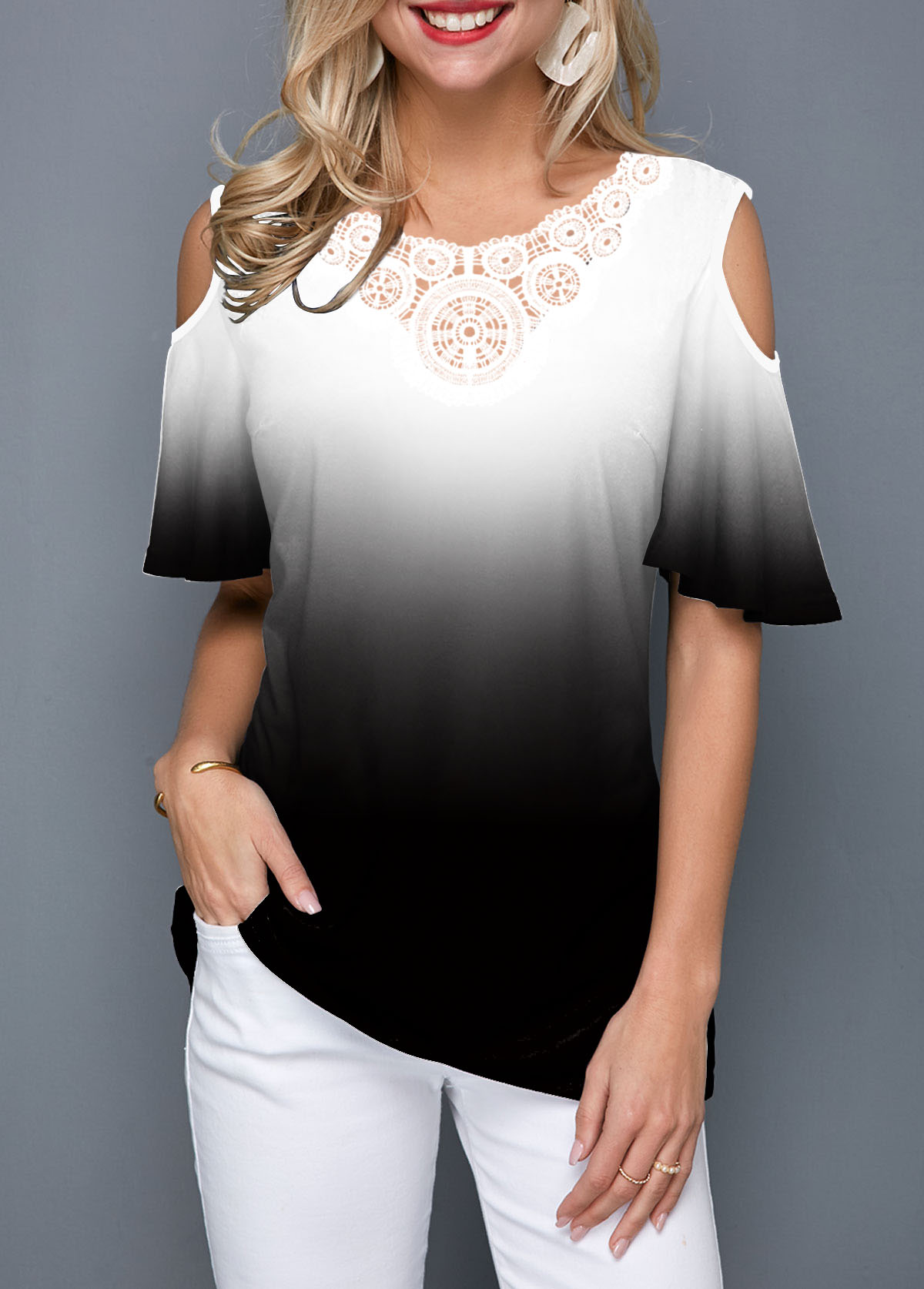 Cold Shoulder Color Block Half Sleeve T Shirt