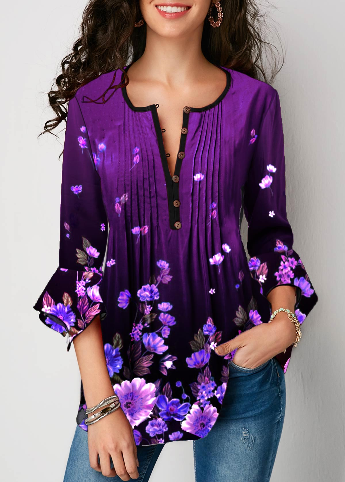 Flare Sleeve Crinkle Chest Floral Print Blouse