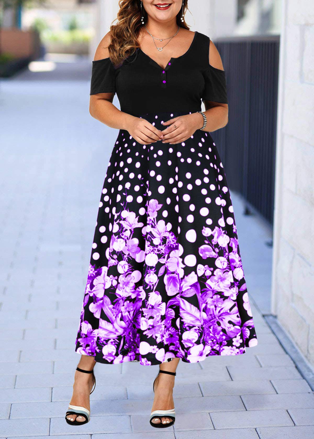 Retro Flower Print Cold Shoulder Plus Size Dress