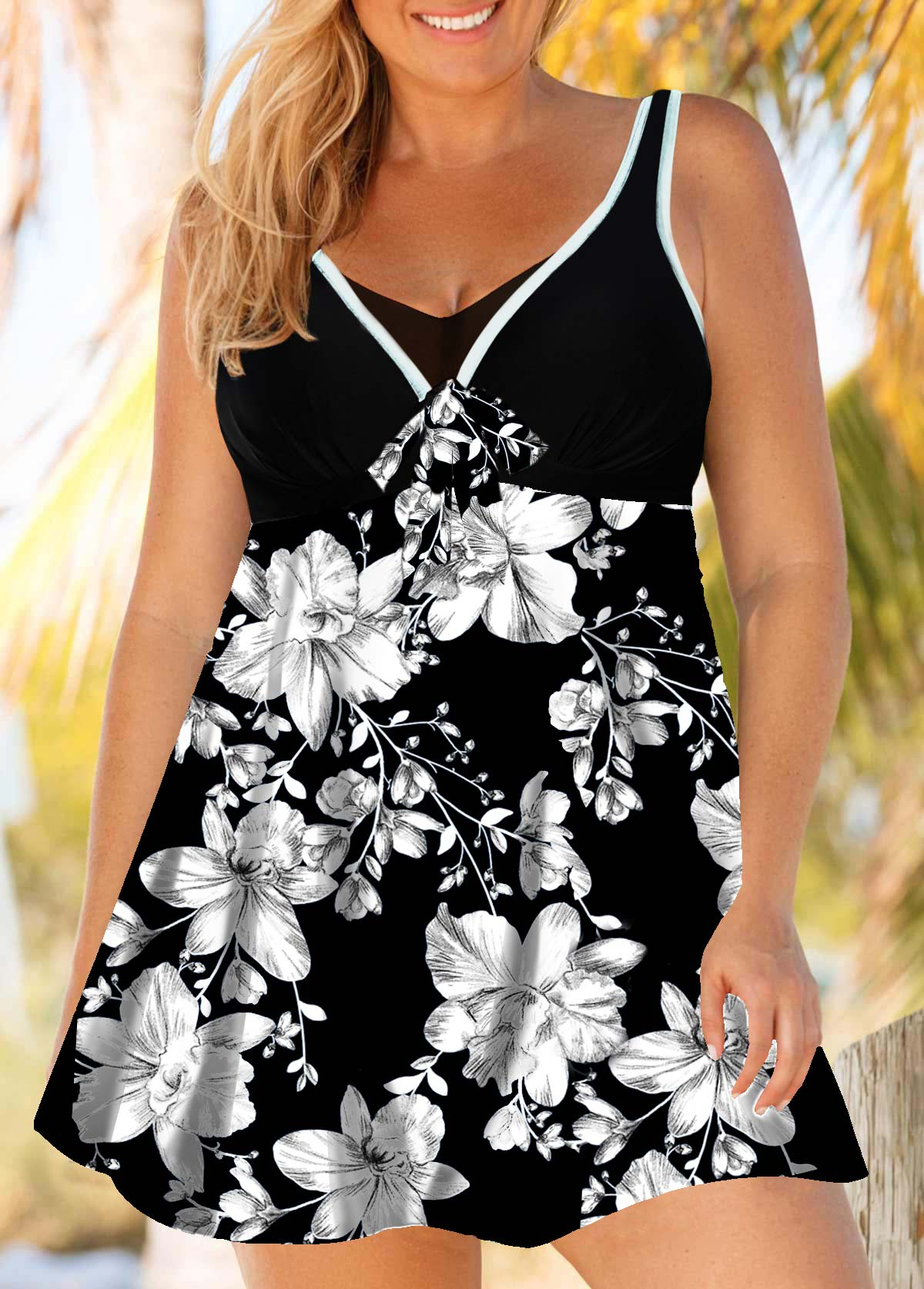 Plus Size Flower Print Swimdress and Shorts