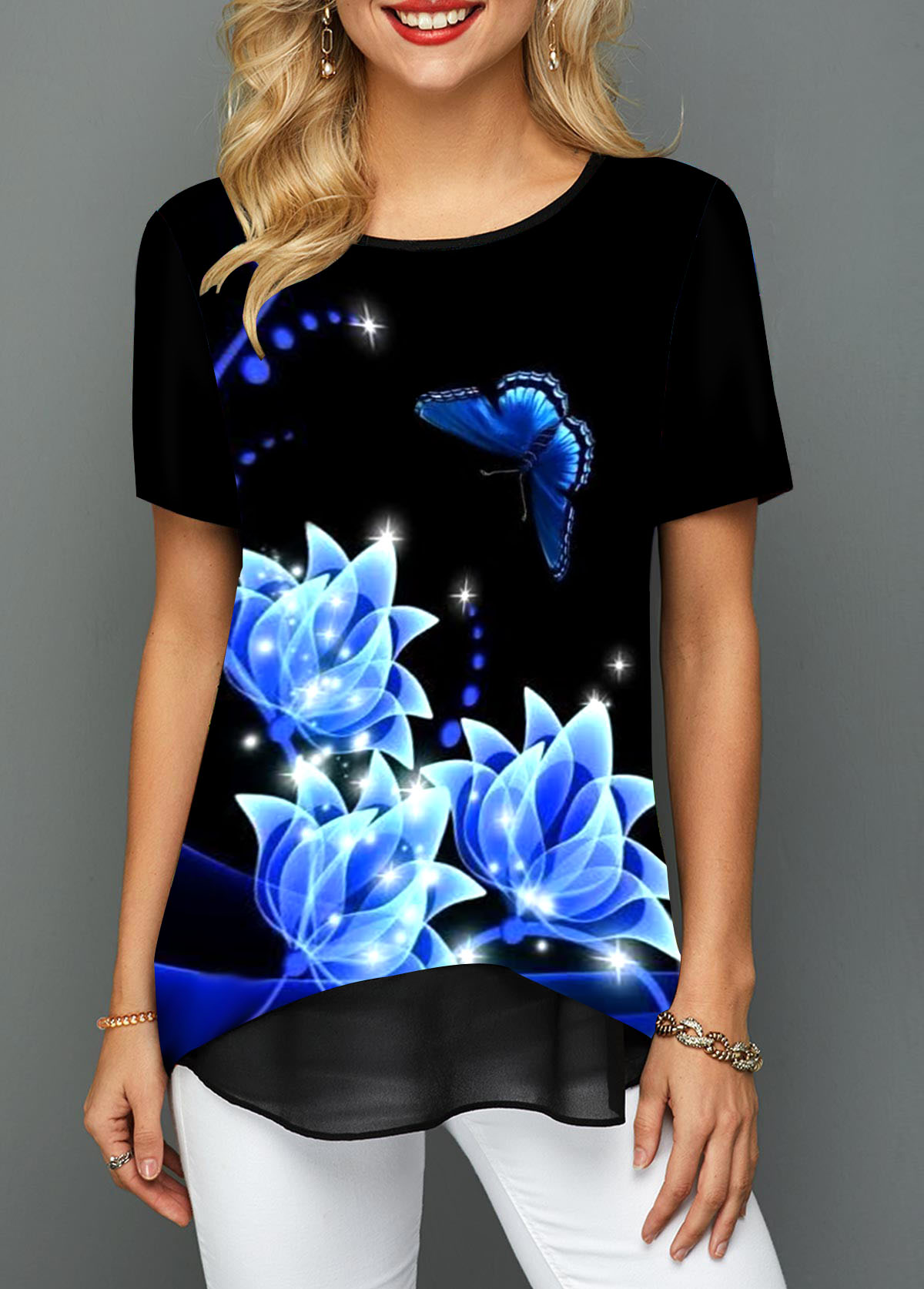 Flower and Butterfly Print Layered Hem T Shirt