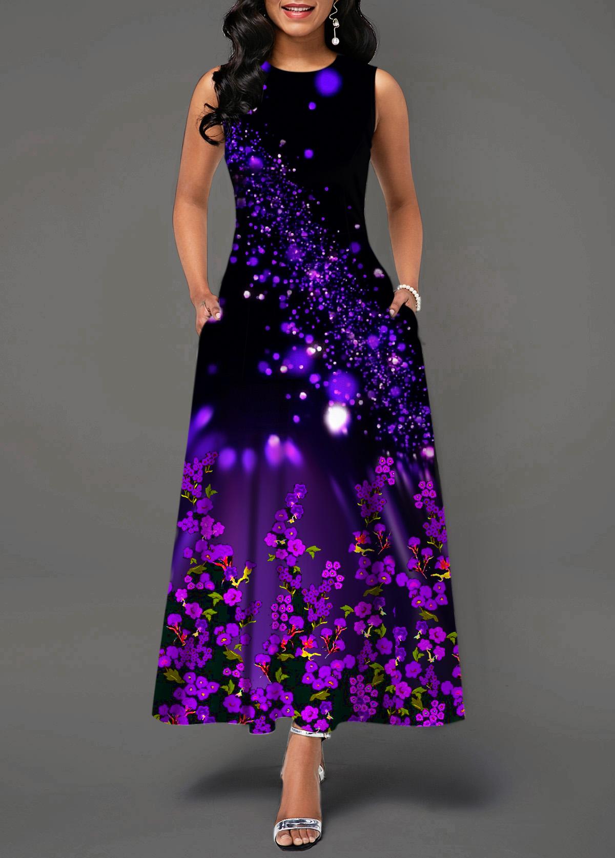Starry Night Print Back Zipper Round Neck Maxi Dress
