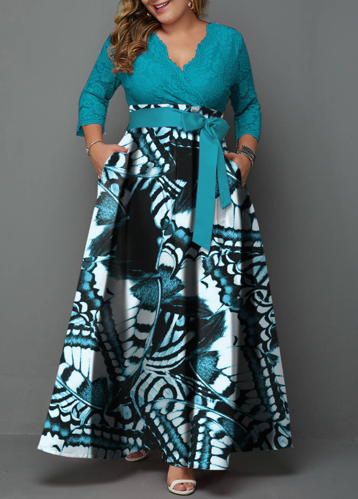 Belted Plus Size Lace Panel Printed Maxi Dress