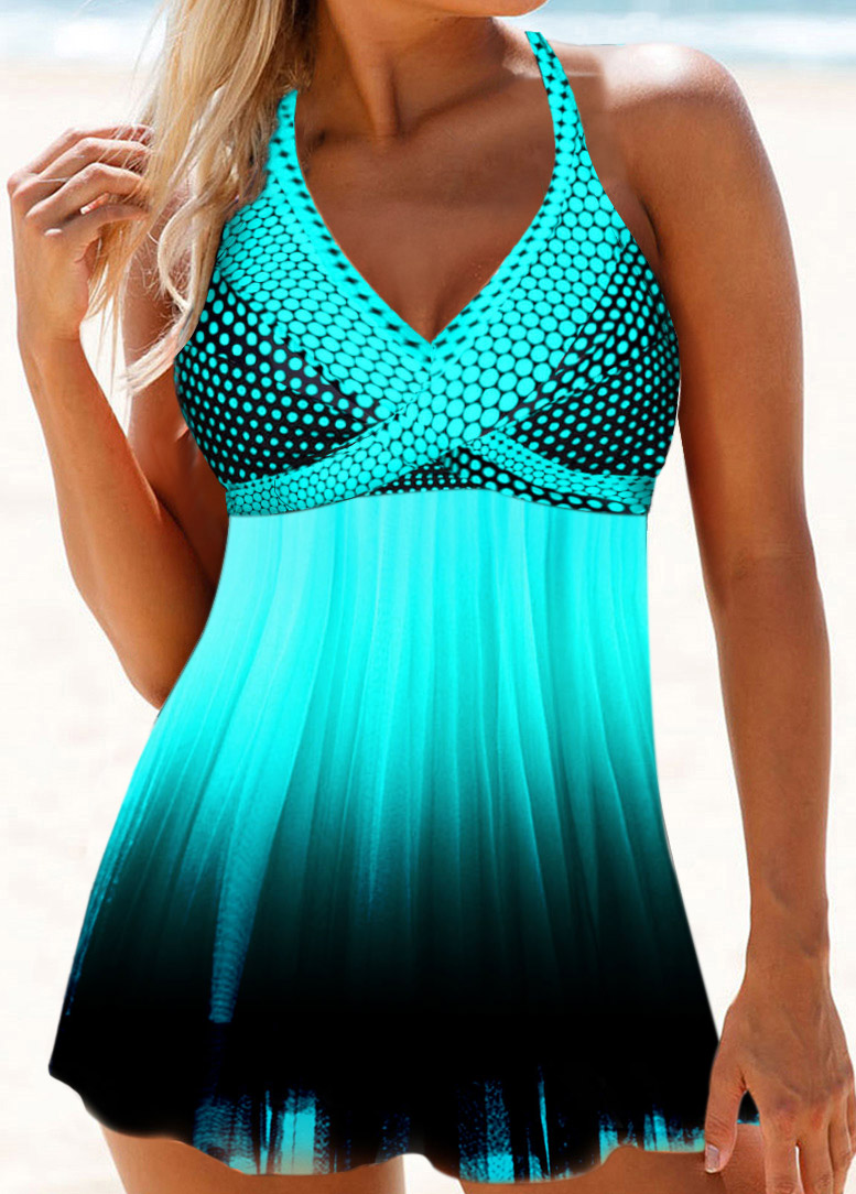 Halter Neck Polka Dot Print Swimdress and Panty