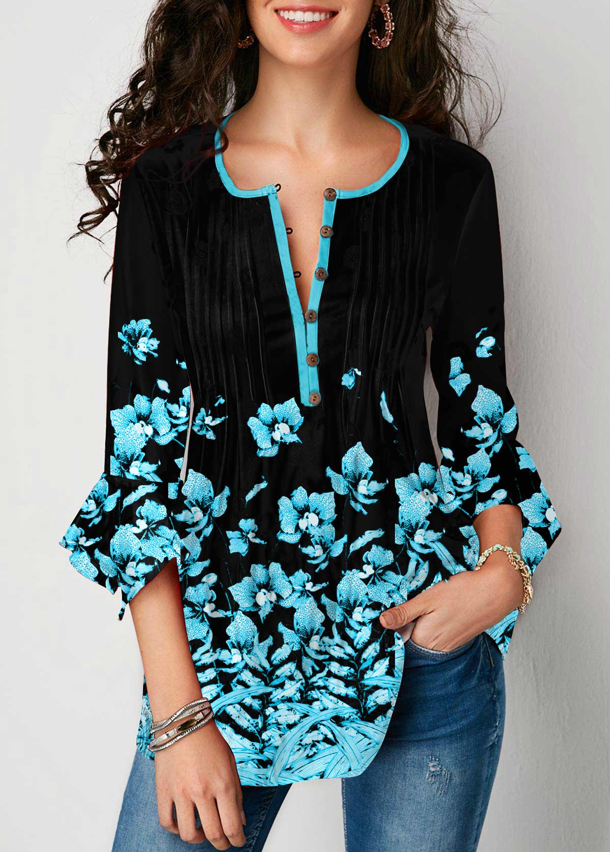Floral Print Crinkle Chest Flare Cuff Blouse