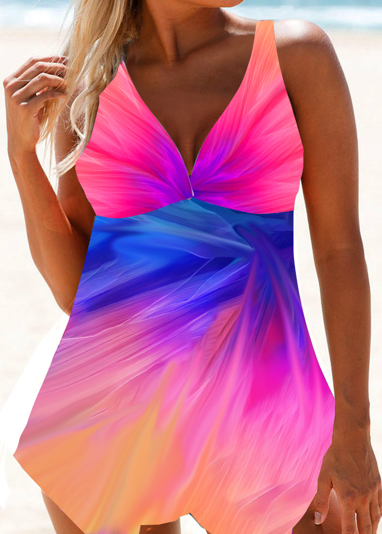 Asymmetric Hem Open Back Swimdress and Panty