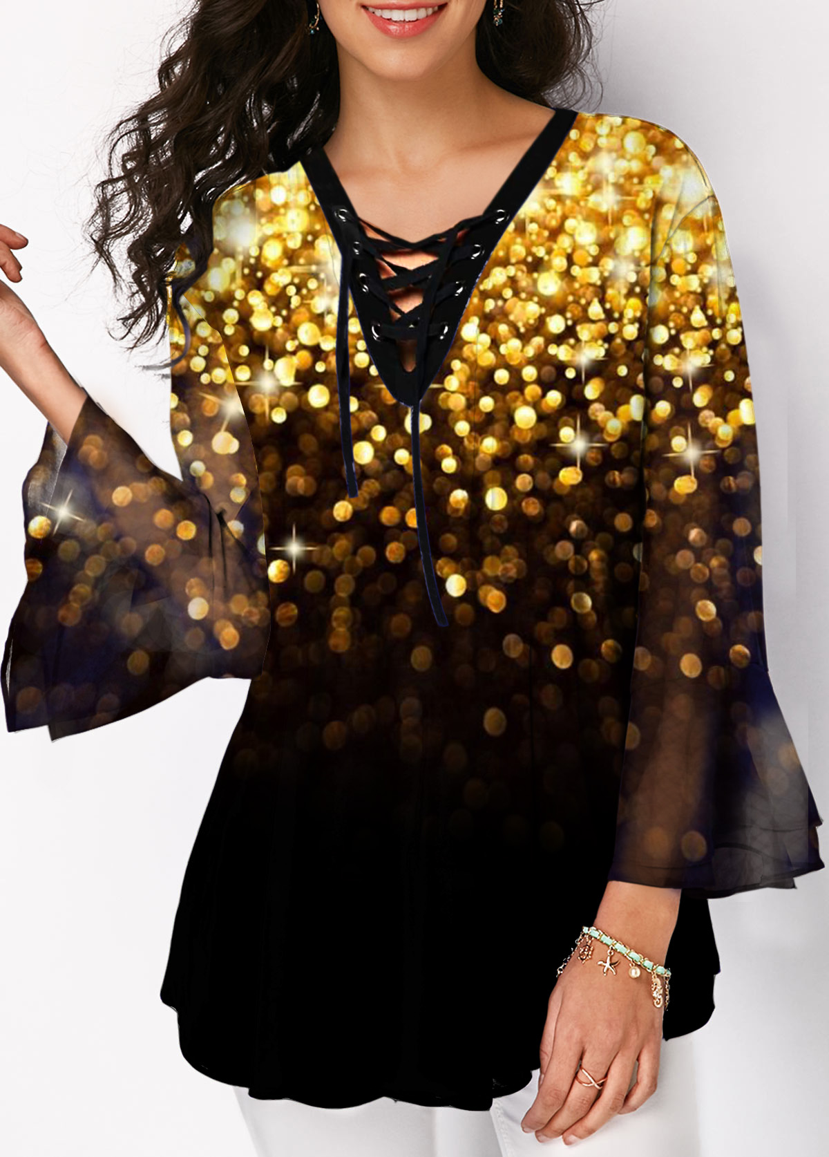 Lace Up Flare Sleeve Printed Blouse