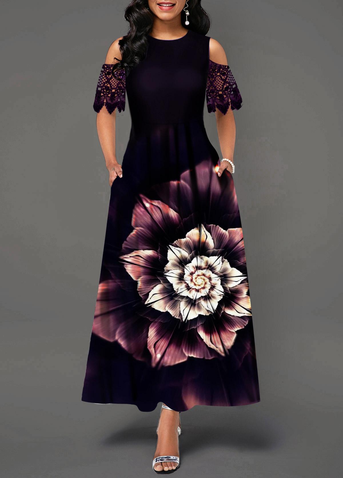 Camellia Print Cold Shoulder Lace Panel Maxi Dress