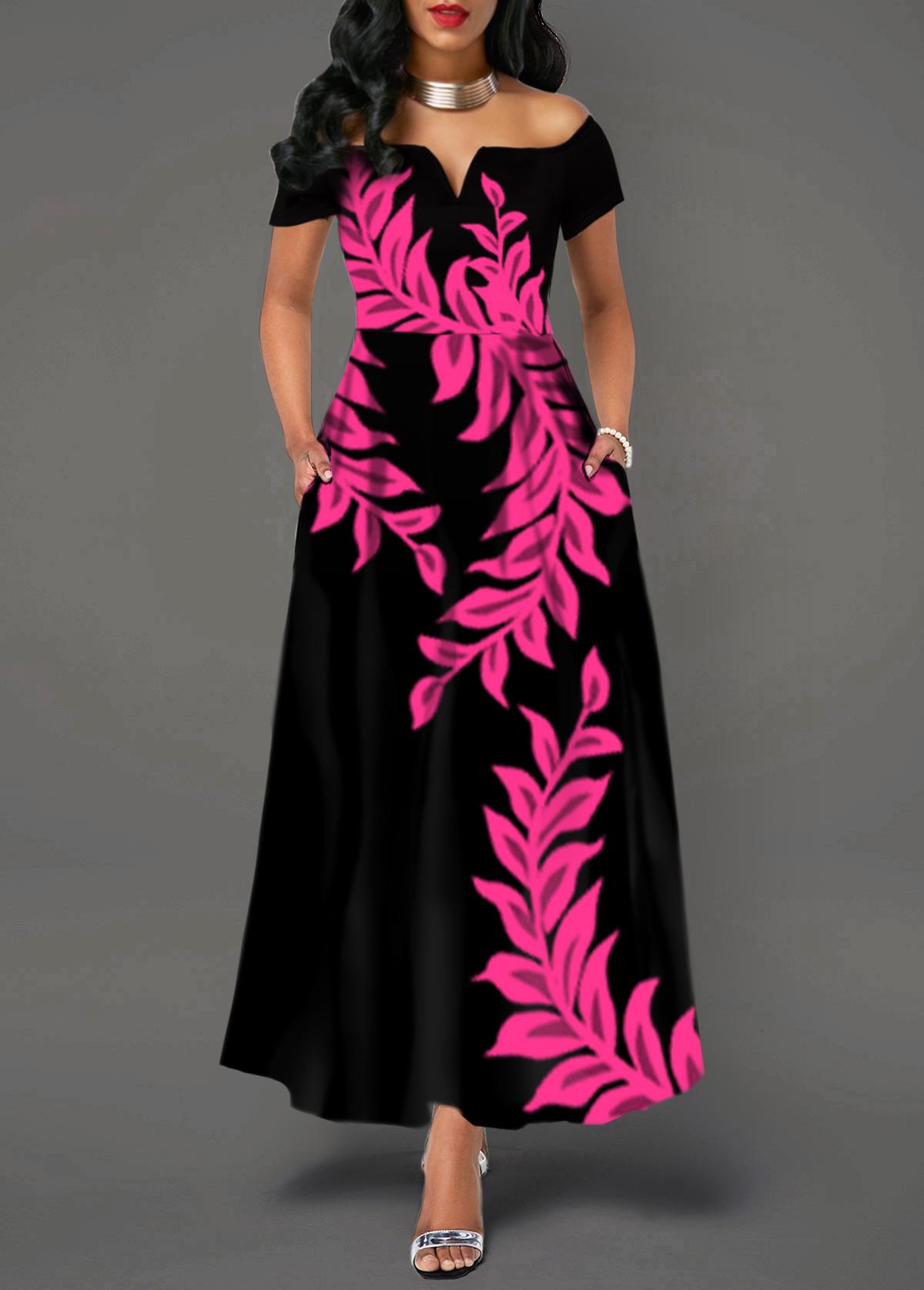 Split Neck Off The Shoulder Printed Dress
