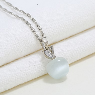 Cherry Pendant Silver Metal Necklace for Women