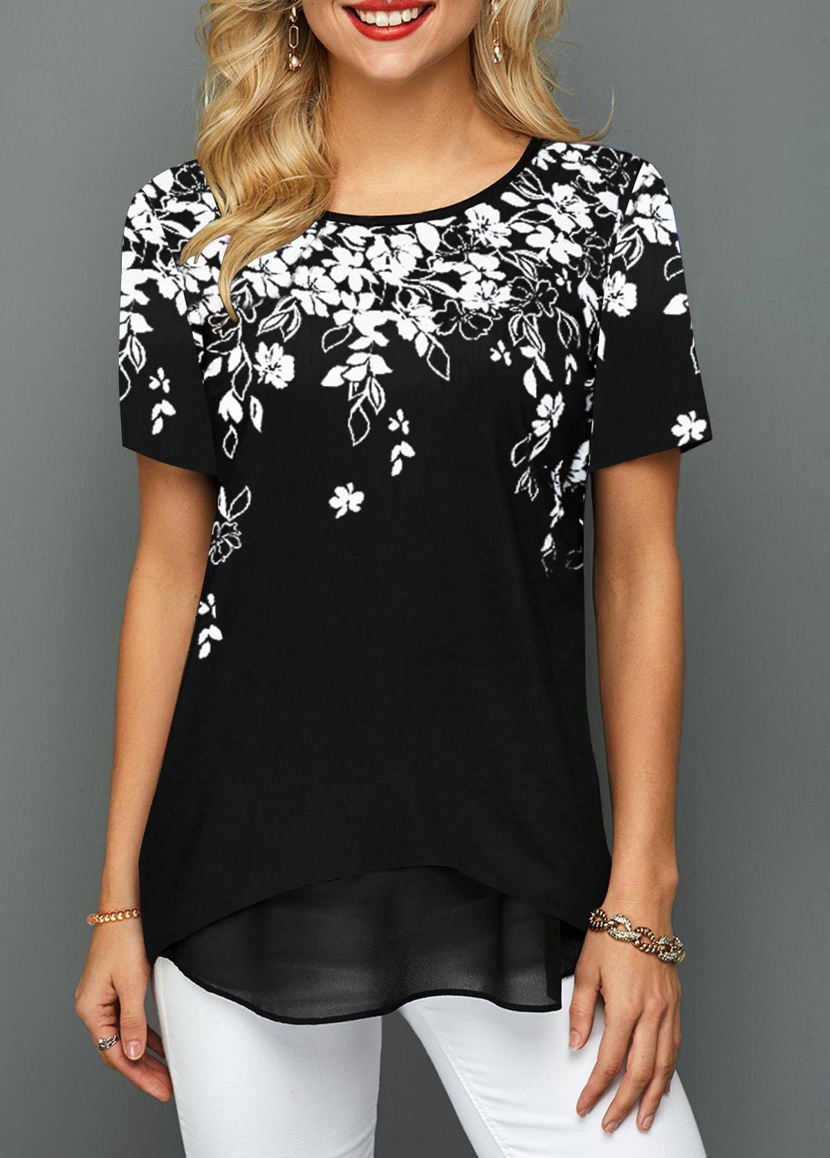 Floral Print Short Sleeve Round Neck T Shirt