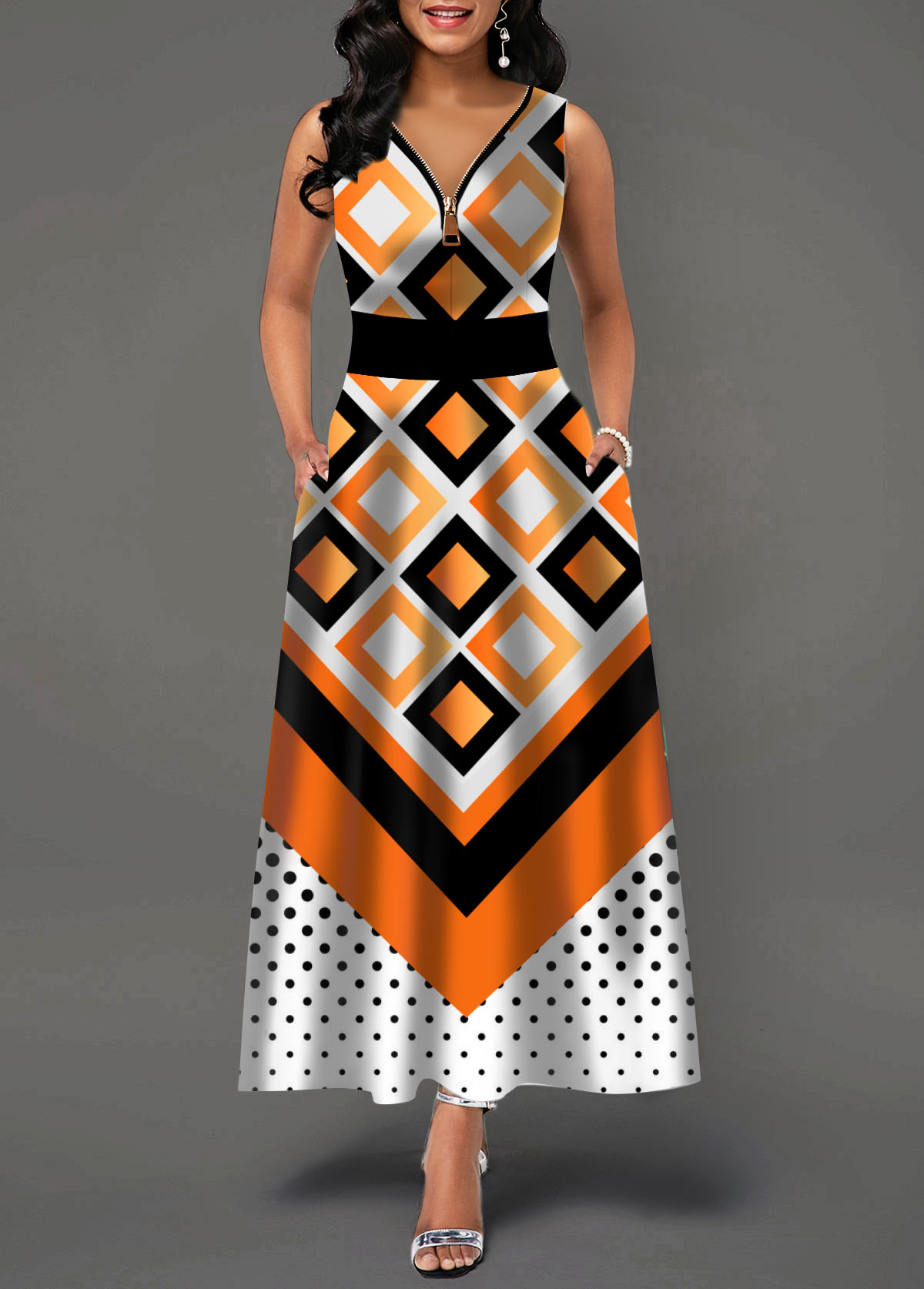 Zipper Front Dot and Geometric Print Maxi Dress