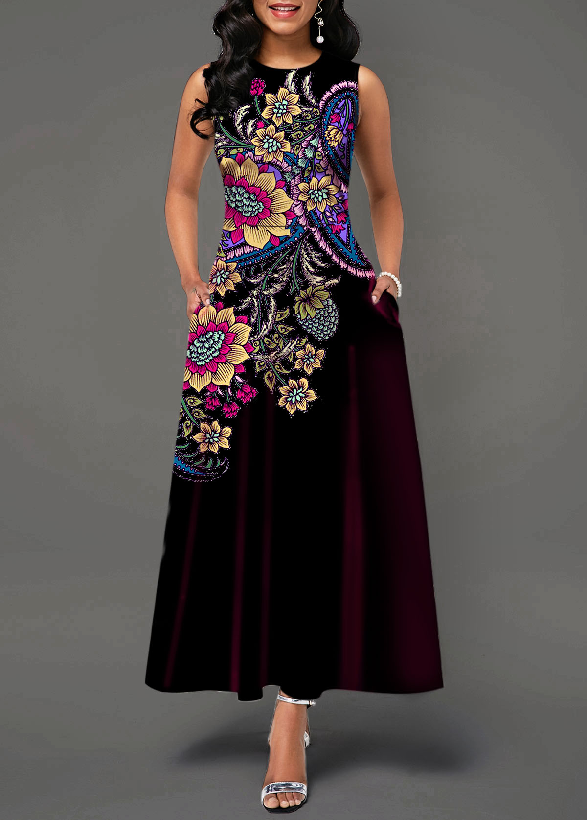 Sleeveless Tribal Print High Waist Dress