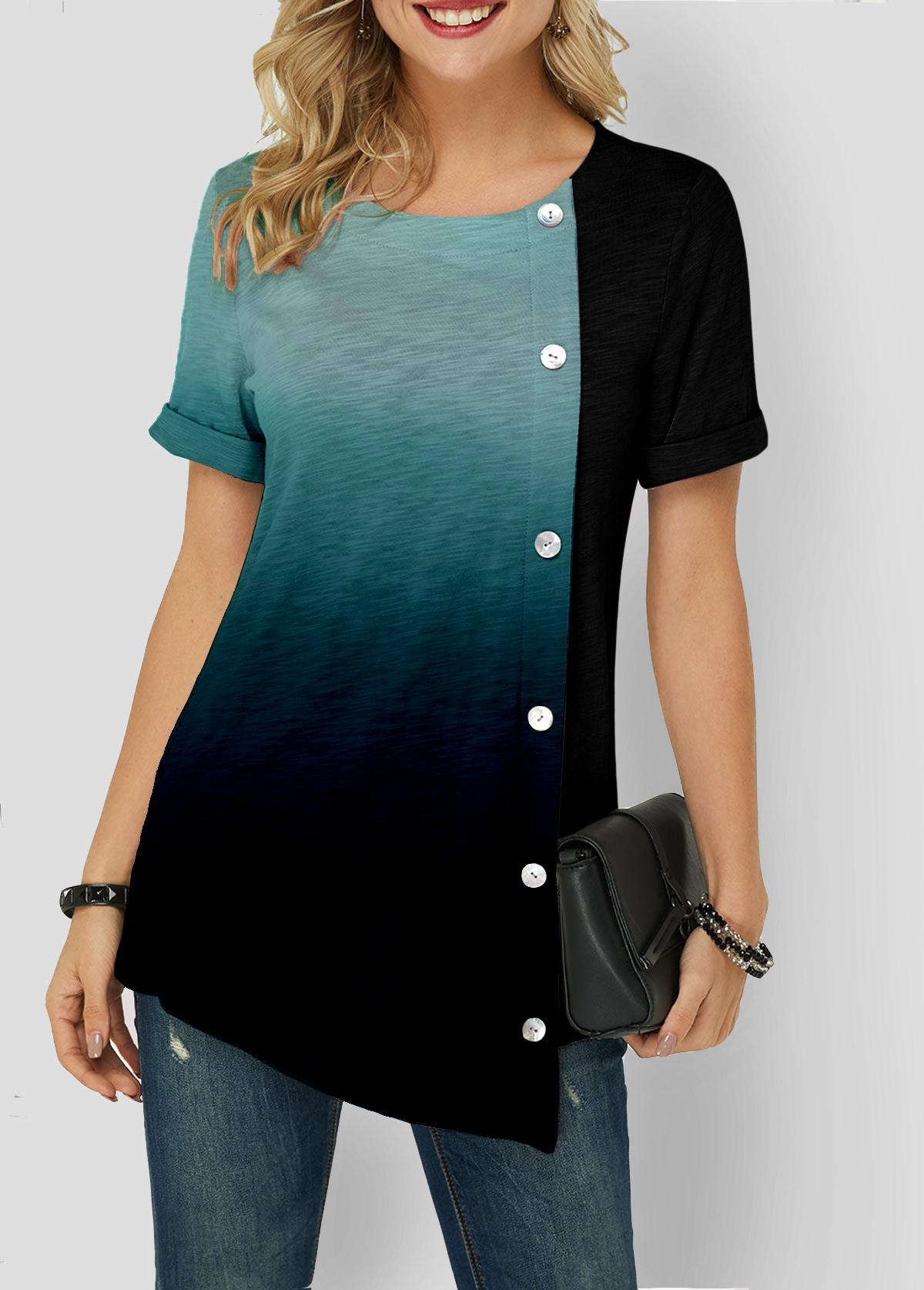 Asymmetric Hem Short Sleeve Button Detail T Shirt