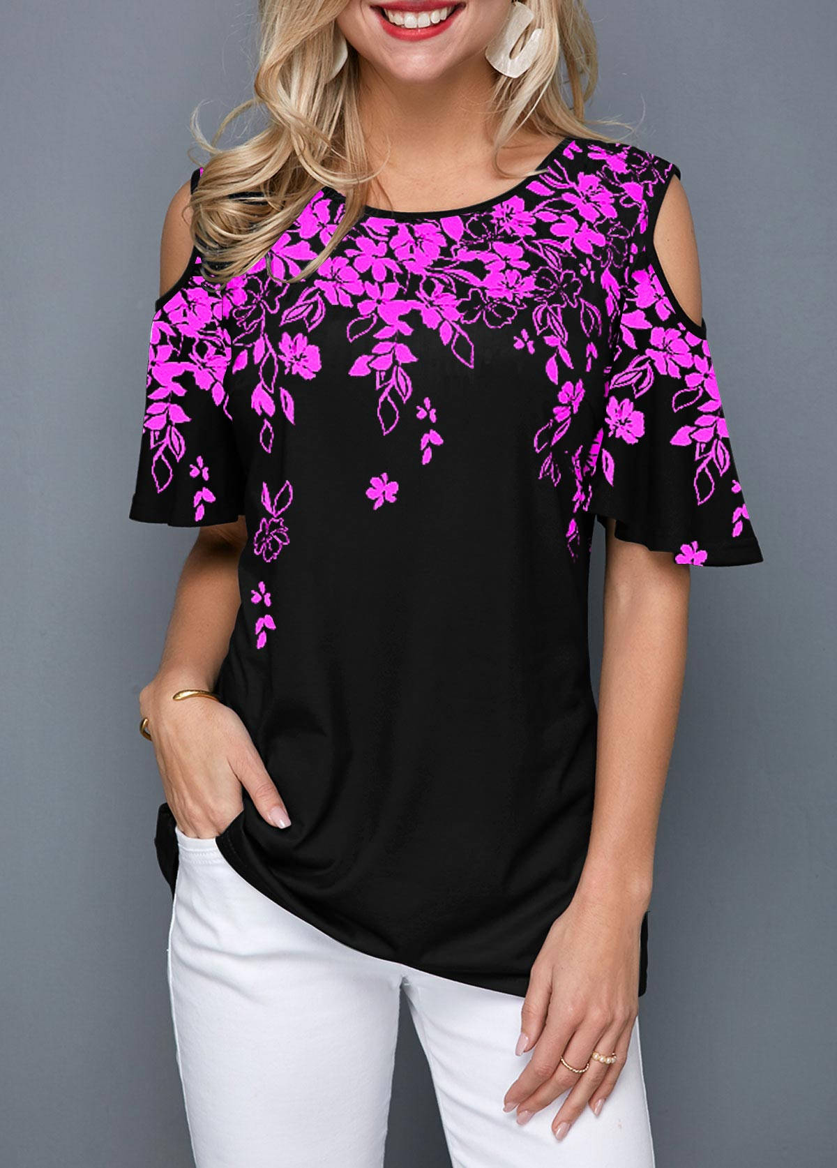 Flower Print Cold Shoulder Round Neck Blouse