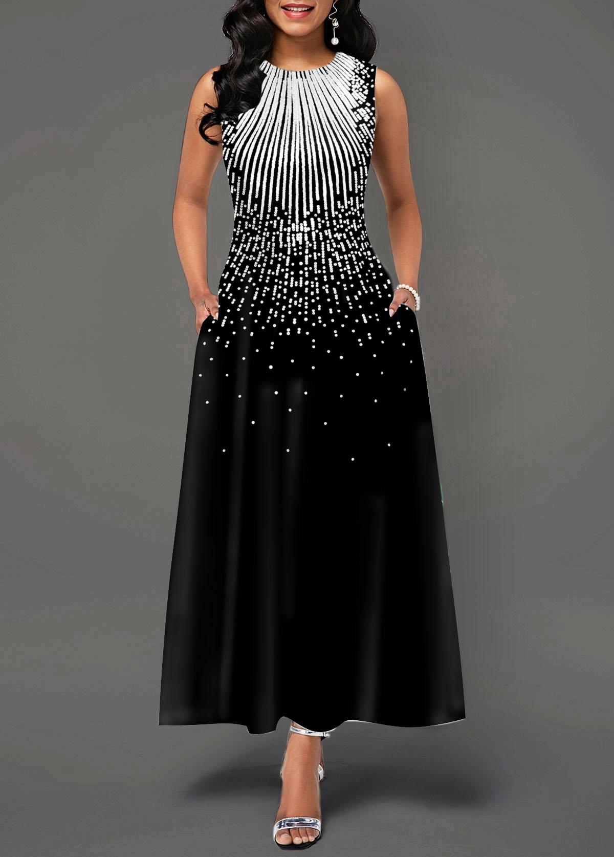 Sleeveless Round Neck Printed Pocket Maxi Dress