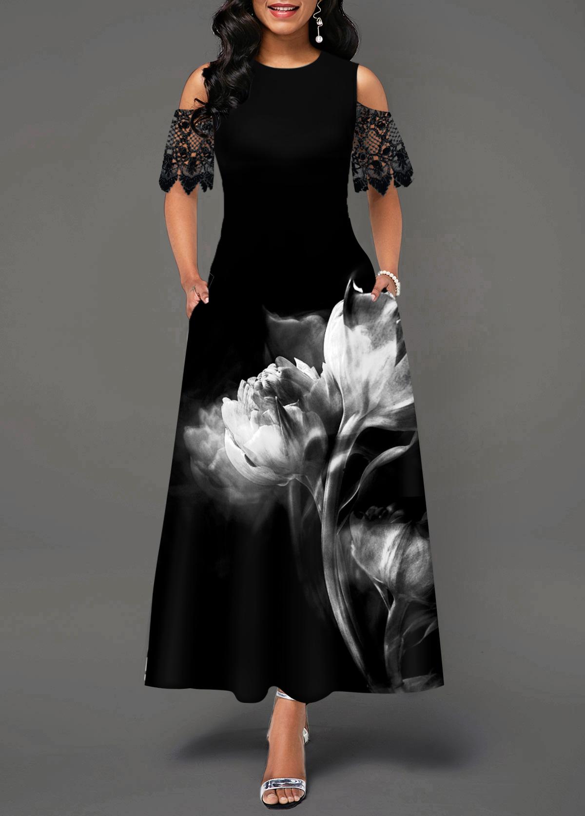 Flower Print Lace Panel Cold Shoulder Maxi Dress