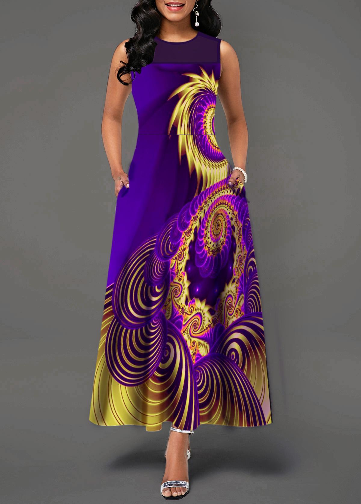 Sleeveless Mesh Patchwork Printed Maxi Dress