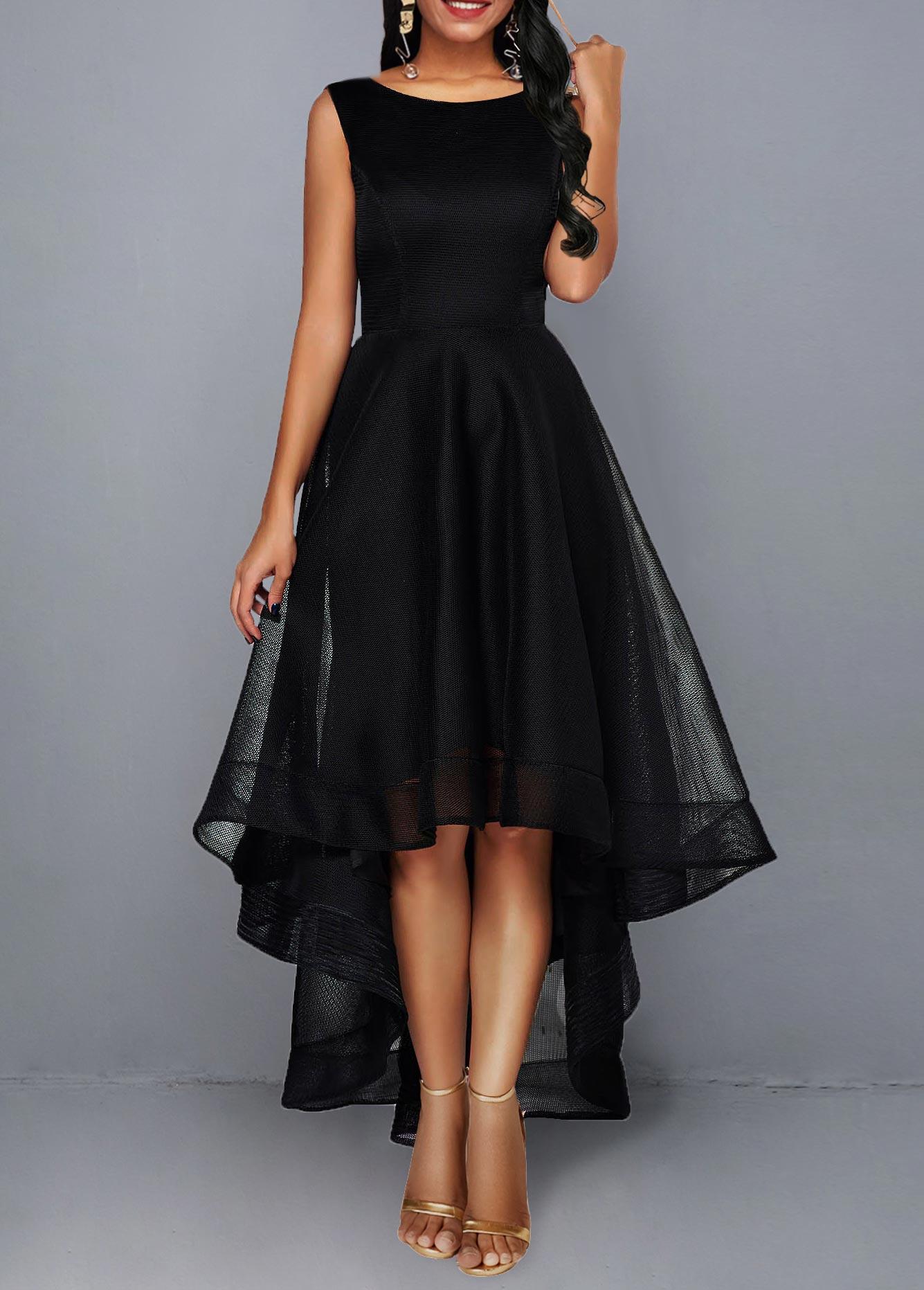 High Waist Sleeveless Mesh Patchwork Black Dress