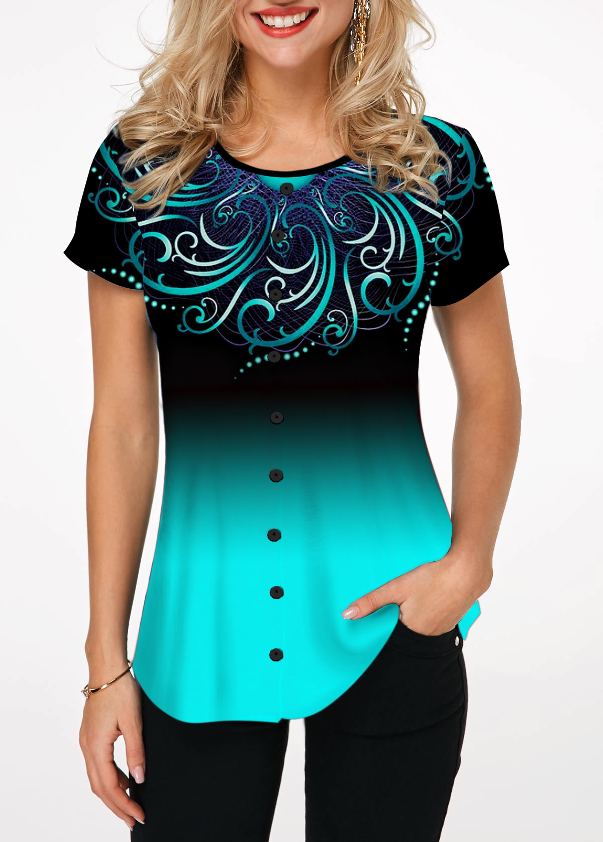 Button Embellished Round Neck Printed Blouse