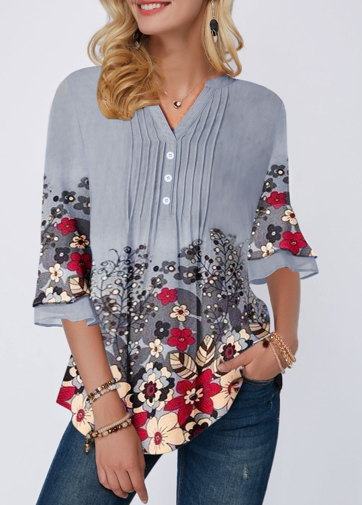 Flower Print Crinkle Chest Button Front Blouse
