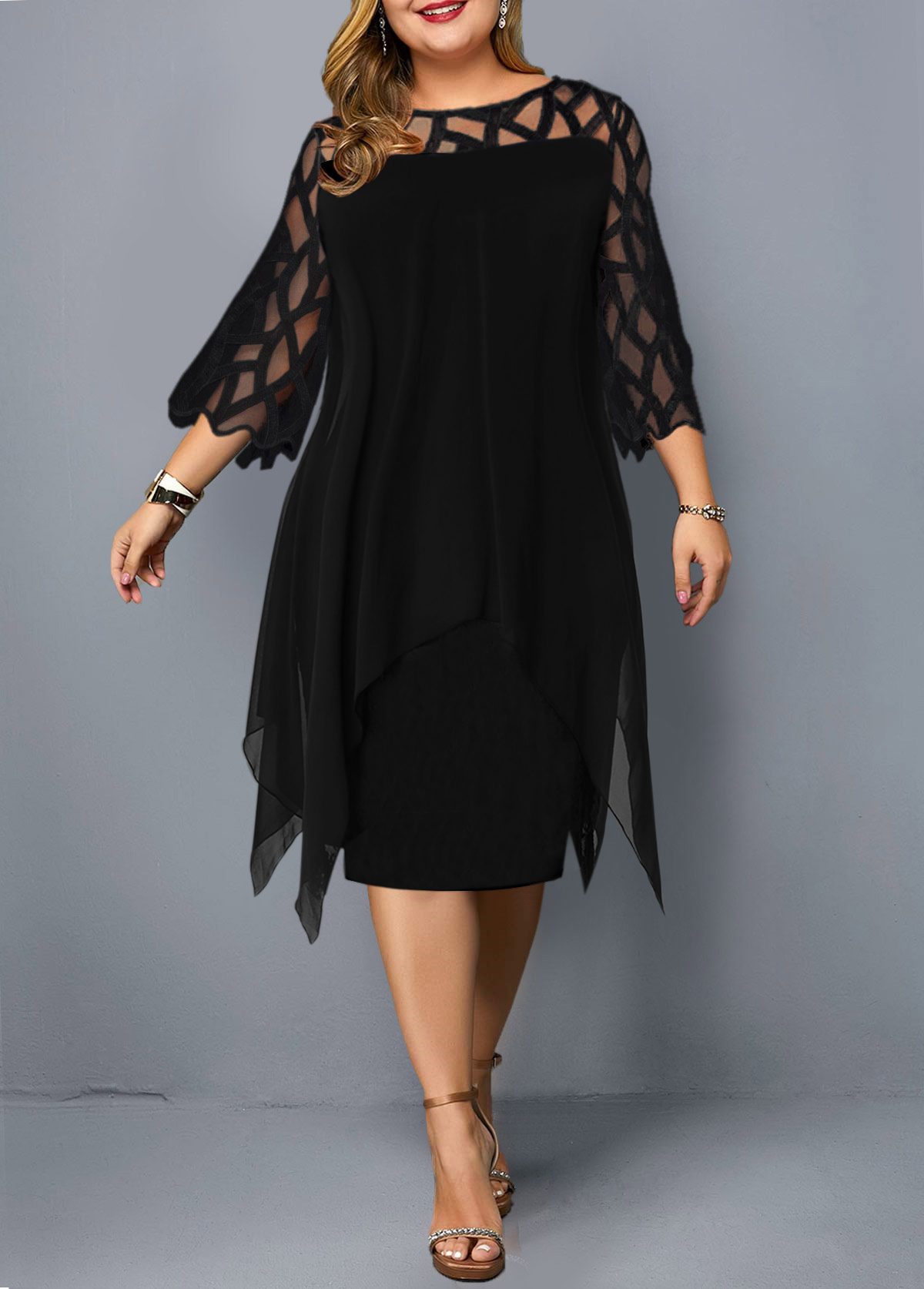 Mesh Panel Round Neck Layered Plus Size Ombre Dress