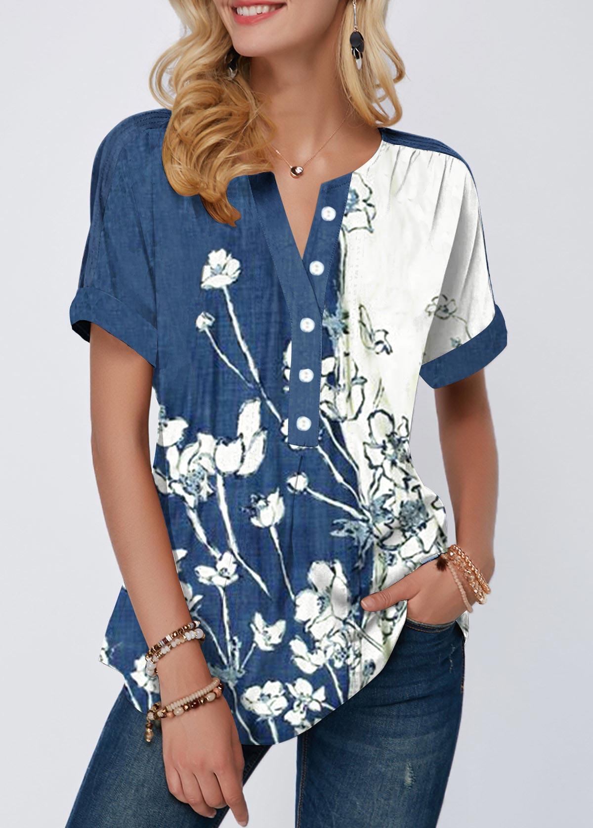Button Detail Split Neck Floral Print Blouse