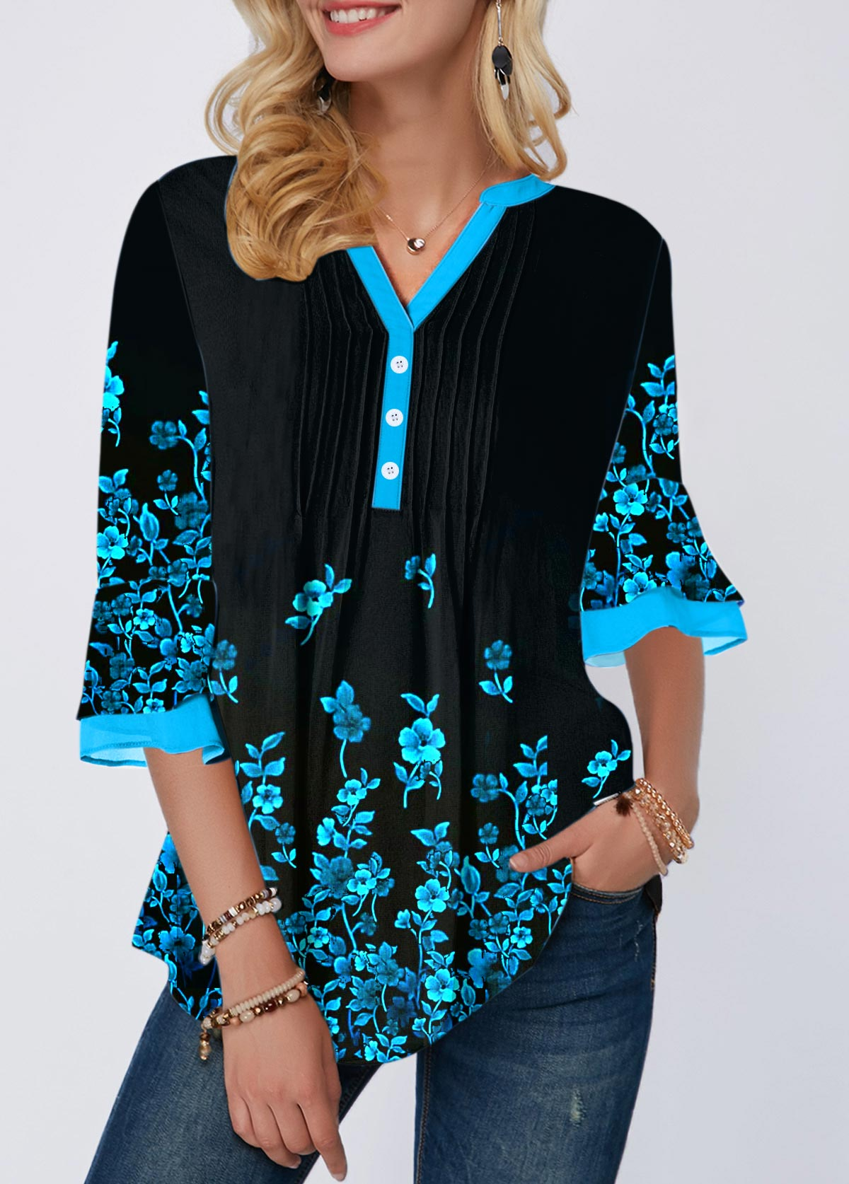 Flower Print Split Neck Crinkle Chest Blouse
