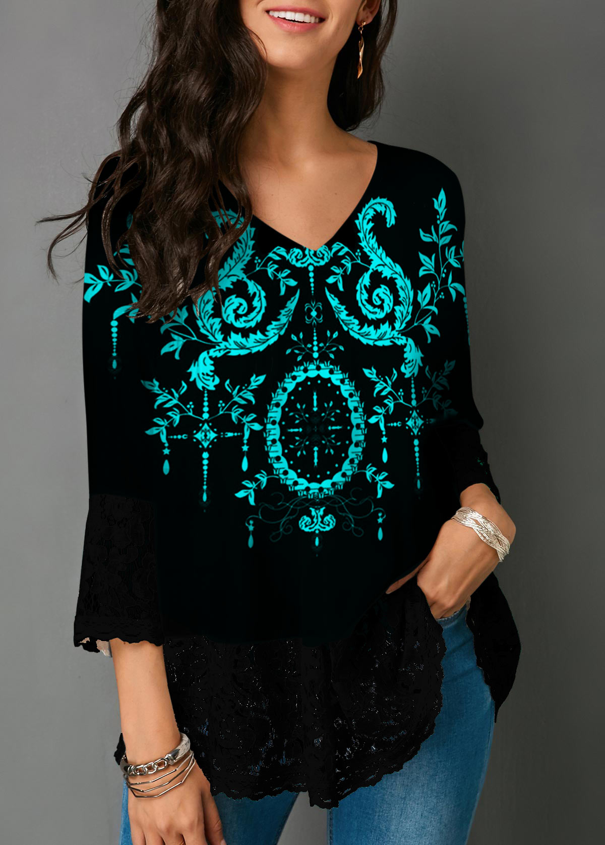 Tribal Print Three Quarter Sleeve Lace Panel Blouse