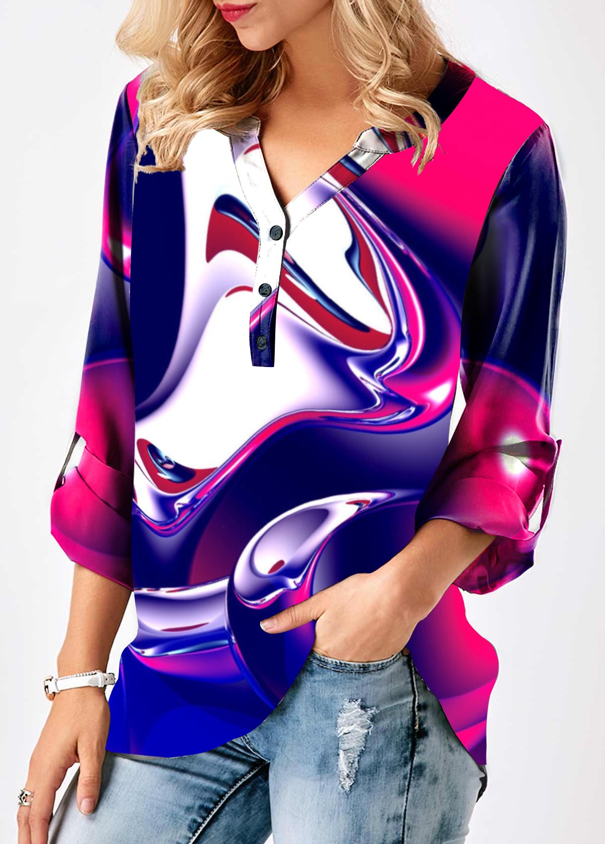 Split Neck Roll Tab Sleeve Printed Blouse