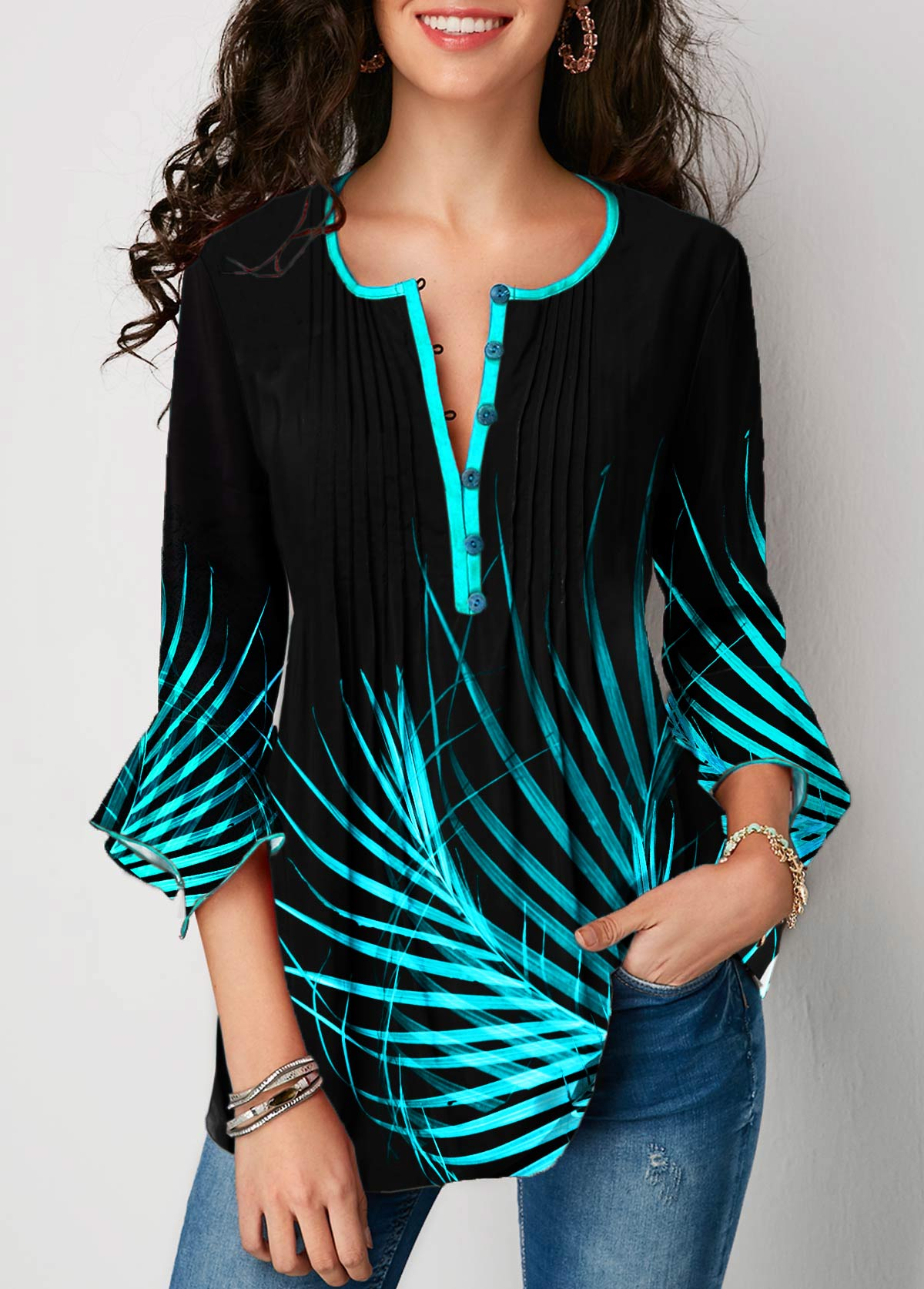 Palm Leaf Print Button Detail Flare Cuff Blouse