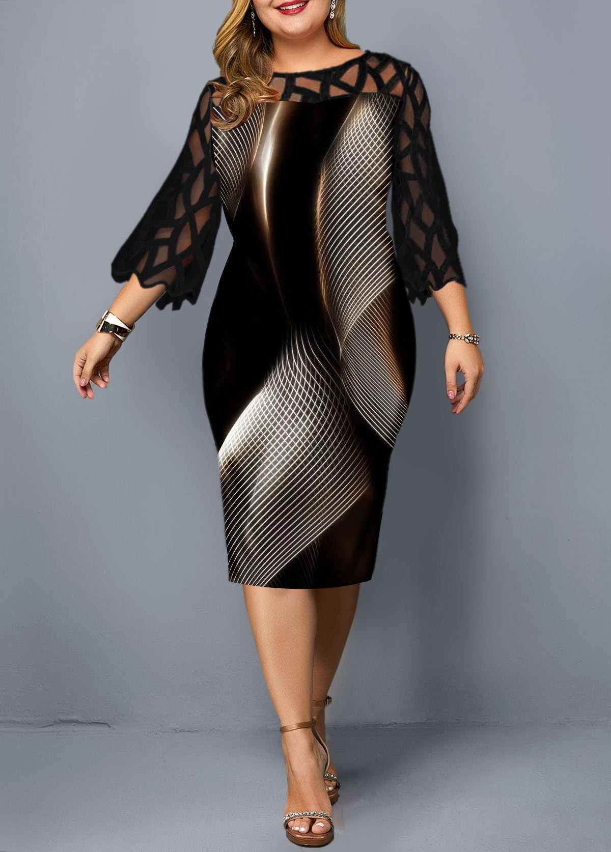 Plus Size Lace Panel Geometric Print Sheath Dress