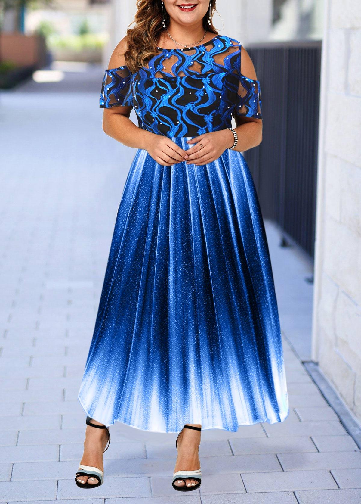 Cold Shoulder Lace Panel Plus Size High Waist Dress