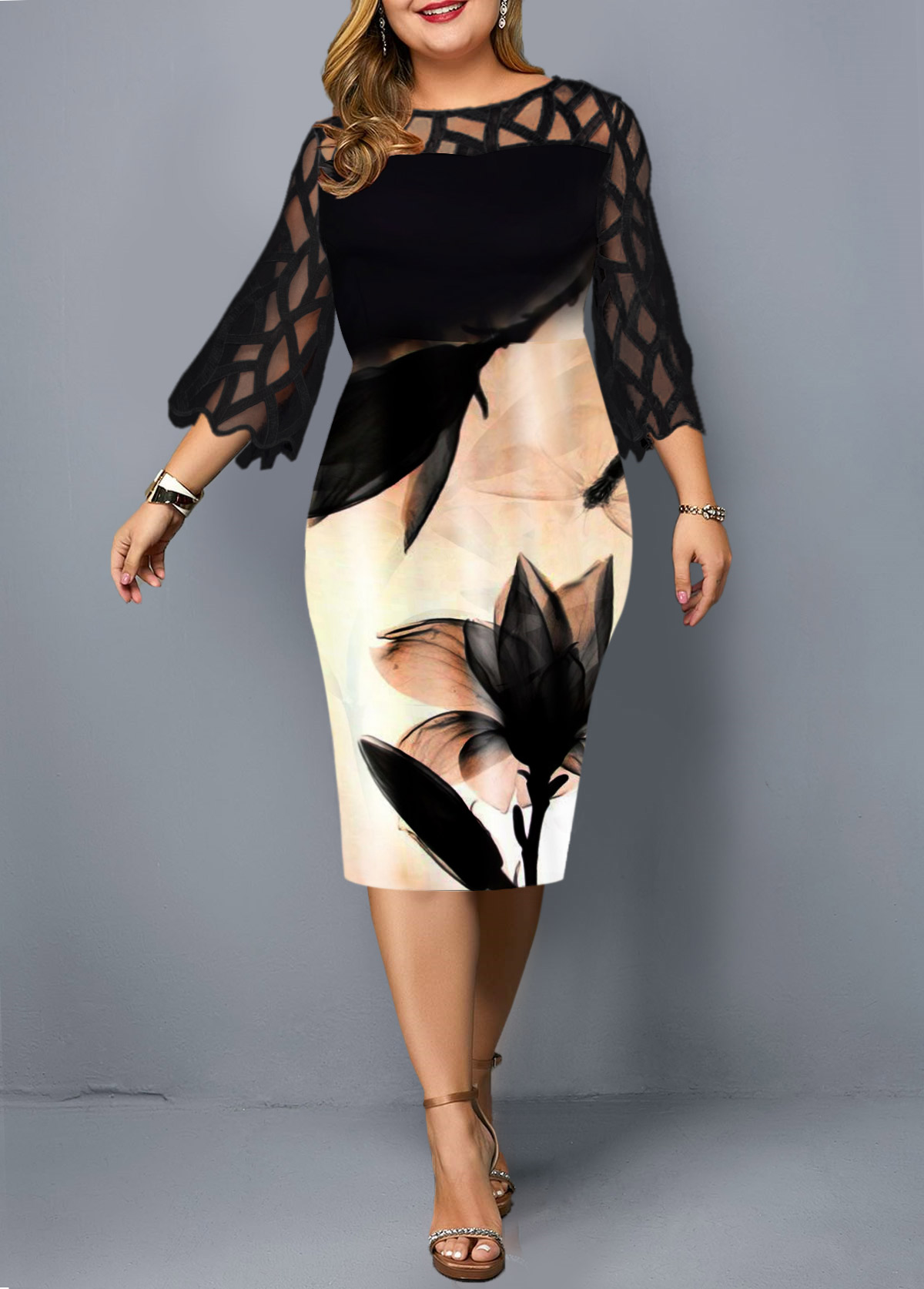 Plus Size Printed Mesh Patchwork Black Dress