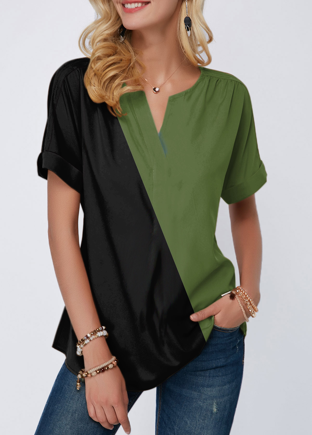Color Block Short Sleeve Notch Neck T Shirt