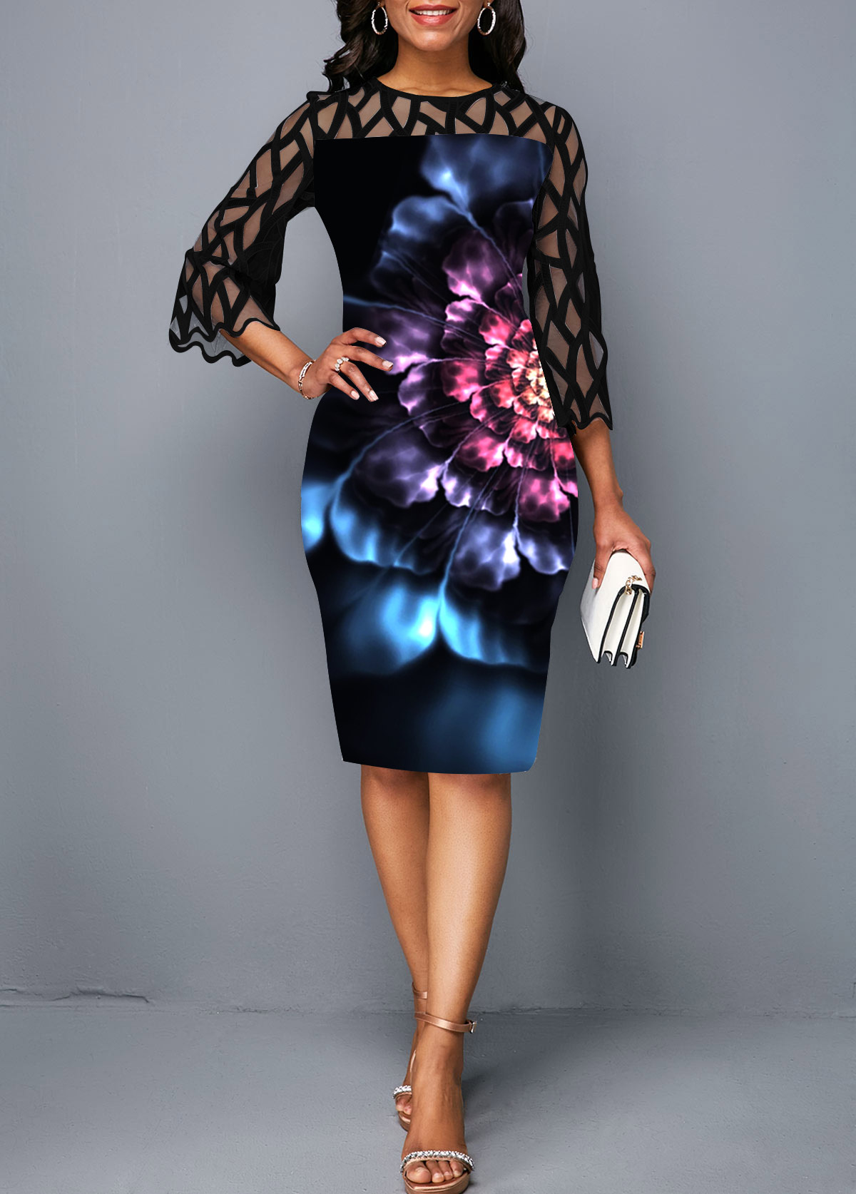 Lace Panel Round Neck Flower Print Sheath Dress