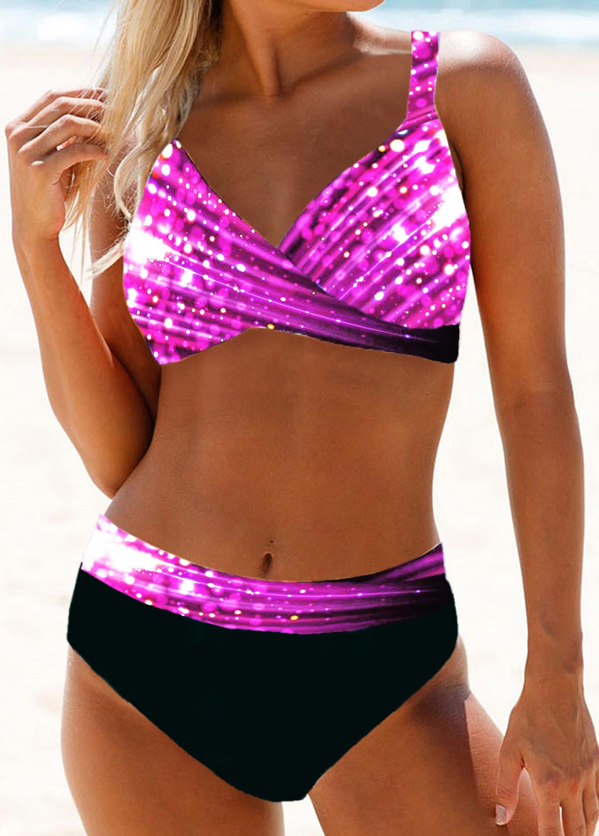 Cross Front Printed High Waist Bikini Set